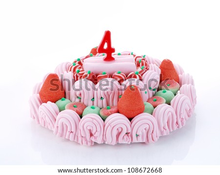 Birthday-anniversary cake with red candles showing Nr. 4