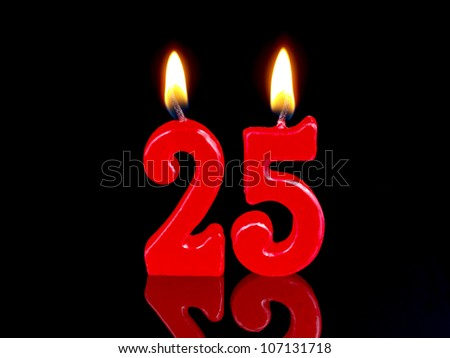 Birthday-anniversary candles showing Nr. 25 - stock photo