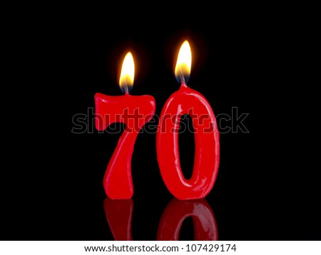 Birthday-anniversary candles showing Nr. 70 - stock photo