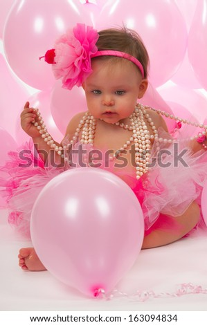 Birthday baby one year old - stock photo