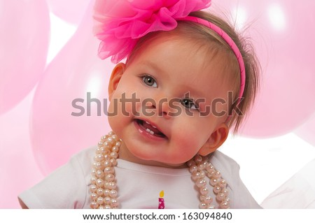 Birthday baby one year old - stock photo