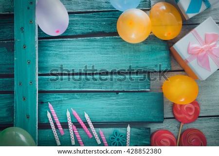 Birthday background. Birthday celebration with copy space. Birthday greeting card - stock photo