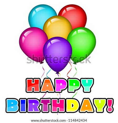 Birthday background with balloons - stock photo