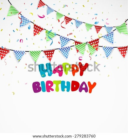 Birthday background with bunting and confetti - stock photo
