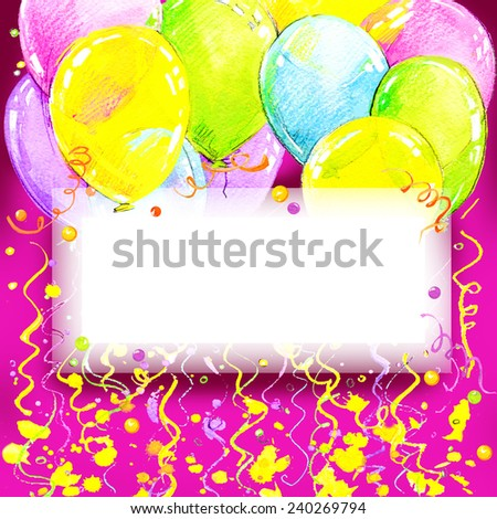 Birthday background with fly colorful balloons with place for text. watercolor - stock photo