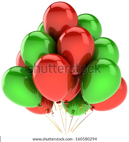 Birthday balloons party decoration colorful red green. Joy fun positive emotion concept. Holiday anniversary retirement celebration greeting card. Detailed 3d render. Isolated on white background - stock photo