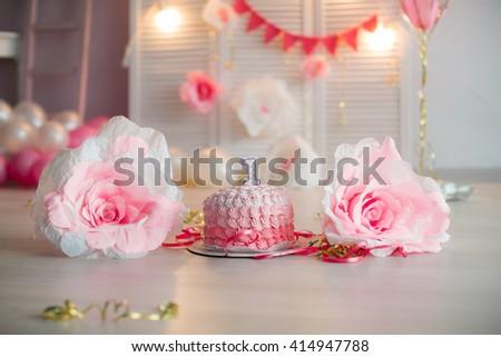 birthday, birthday cake, birthday decorations, studio - stock photo