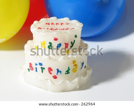 Birthday cake and balloons