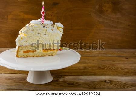 Birthday cake background. Birthday Cake. Meringue cake. Pavlova. Birthday card. Birthday background - stock photo