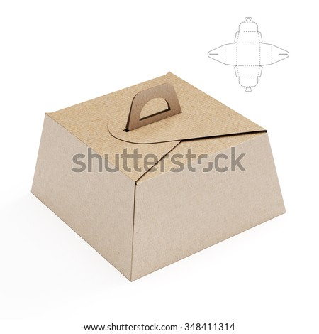 Birthday Cake Box with Handle and Die cut Template - stock photo