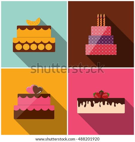 Birthday Cake Flat Icon for Your Design,  Illustration