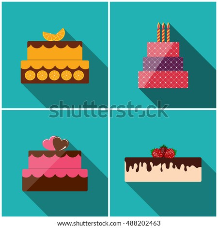 Birthday Cake Flat Icon Set with Long Shadow for Your Design,  Illustration