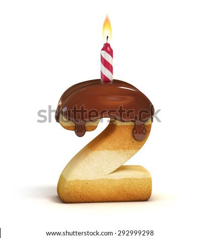 Birthday cake font number 2 - stock photo