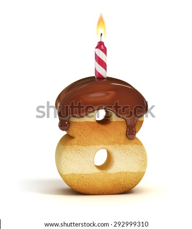 Birthday cake font number 8 - stock photo