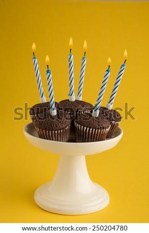 birthday cake for age six - stock photo