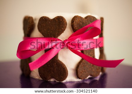 Birthday cake for dogs made from cookie bones
