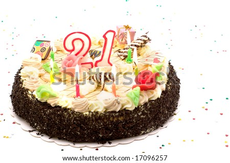 birthday cake for 21 years jubilee on white background with glitter - stock photo