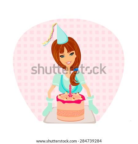 Birthday Cake Girl - stock photo