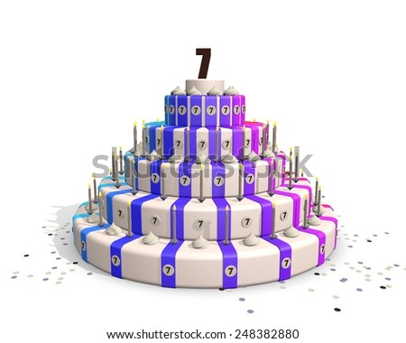 Birthday cake, happy colors, candles and confetti. Number on 7 top - stock photo
