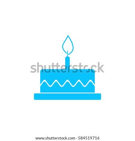 Birthday Cake Icon Flat Simple Blue Stock Illustration 584519716