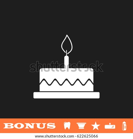 Birthday Cake Icon Flat Simple White Stock Illustration 622625066