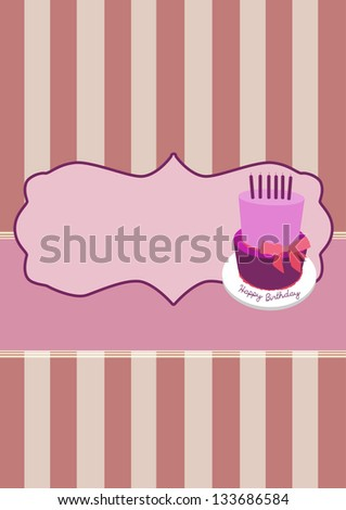 Birthday cake invitation card background with space