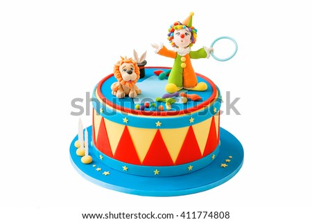 birthday cake mastic for a child . Bright and colorful with a fantastic character . - stock photo
