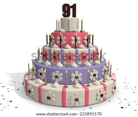 Birthday cake or cake for an anniversary - 91 years - stock photo