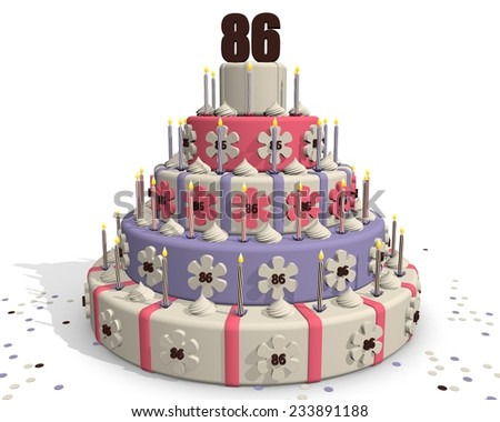 Birthday cake or cake for an anniversary - 86 years - stock photo