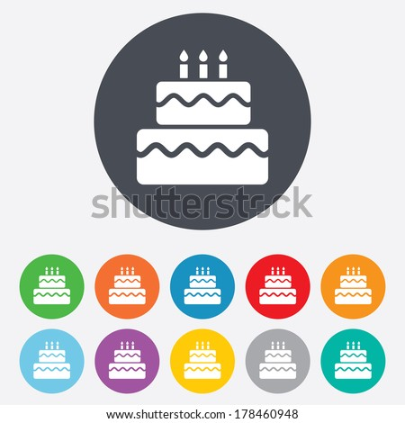 Birthday cake sign icon. Cake with burning candles symbol. Round colourful 11 buttons. - stock photo