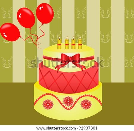 Birthday Cake with balloons - stock photo