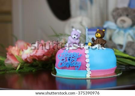 Birthday Cake Bears Flowers Stock Photo 375390976 Shutterstock