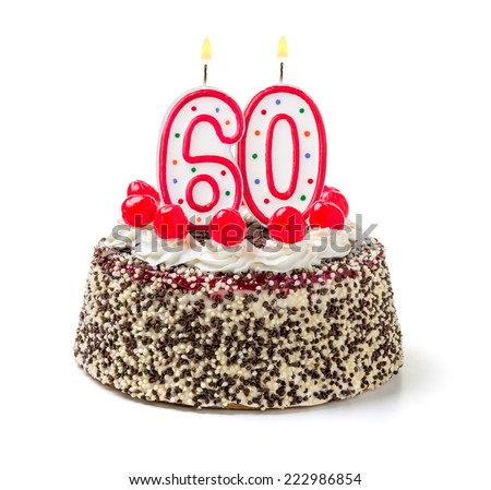 Birthday cake with burning candle number 60 - stock photo