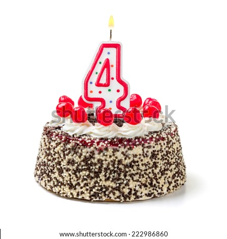 Birthday cake with burning candle number 4 - stock photo