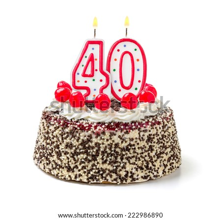Birthday cake with burning candle number 40 - stock photo