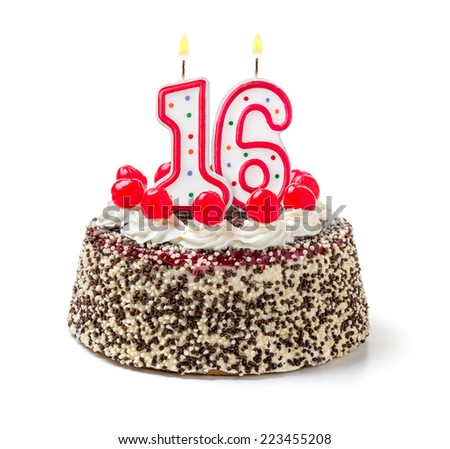 Birthday cake with burning candle number 16 - stock photo
