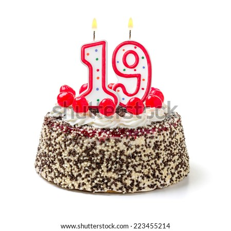 Birthday cake with burning candle number 19 - stock photo