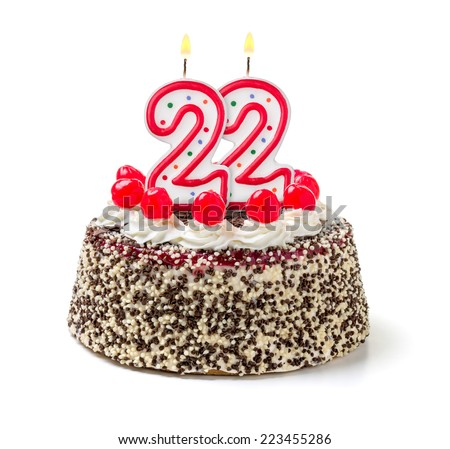 Birthday Cake Burning Candle Number 22 Stock Photo Royalty Free