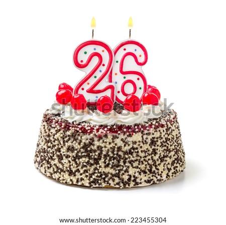 Birthday cake with burning candle number 26 - stock photo