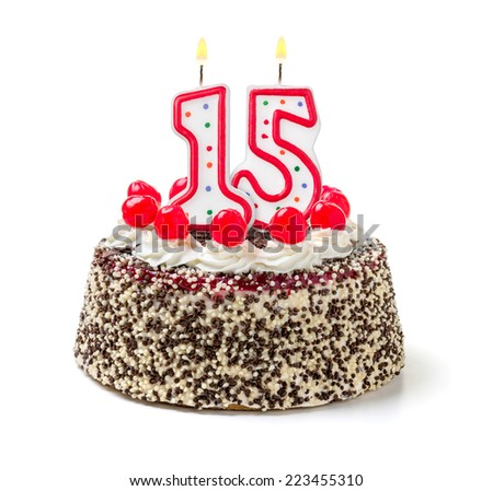Birthday cake with burning candle number 15 - stock photo