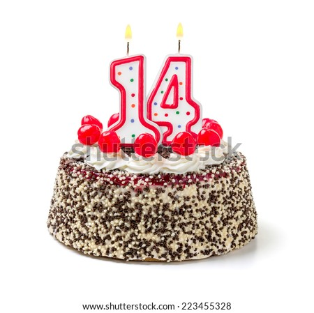 Birthday cake with burning candle number 14 - stock photo