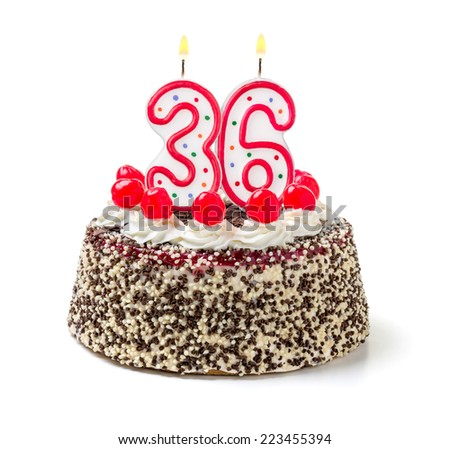 Birthday cake with burning candle number 36 - stock photo