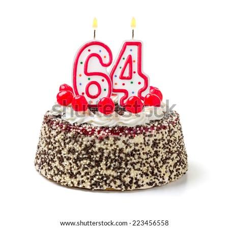 Birthday cake with burning candle number 64 - stock photo