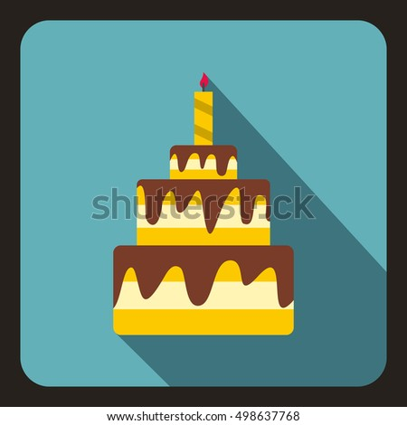 Birthday cake with candle icon in flat style on a baby blue background  illustration