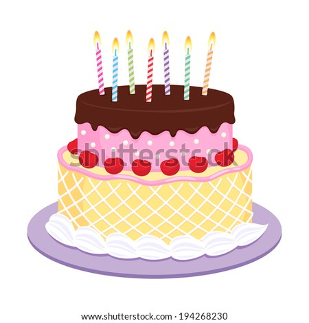 Birthday cake with candles illustration. Raster version.