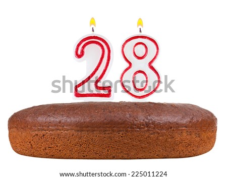 birthday cake with candles number 28 isolated on white background - stock photo