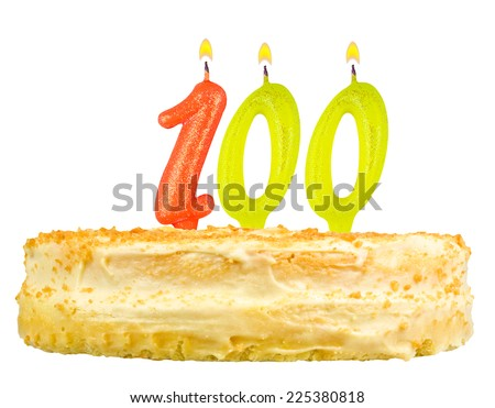 birthday cake with candles number one hundred isolated on white background - stock photo