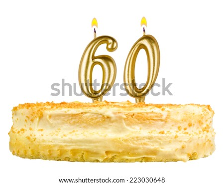 birthday cake with candles number sixty isolated on white background - stock photo
