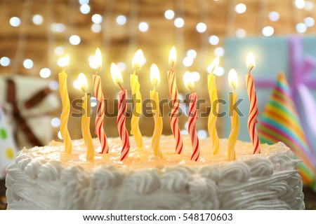Birthday Cake Candles On Lights Background Stock Photo 548170603