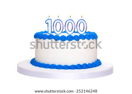 Birthday cake with candles reading 1000 - stock photo